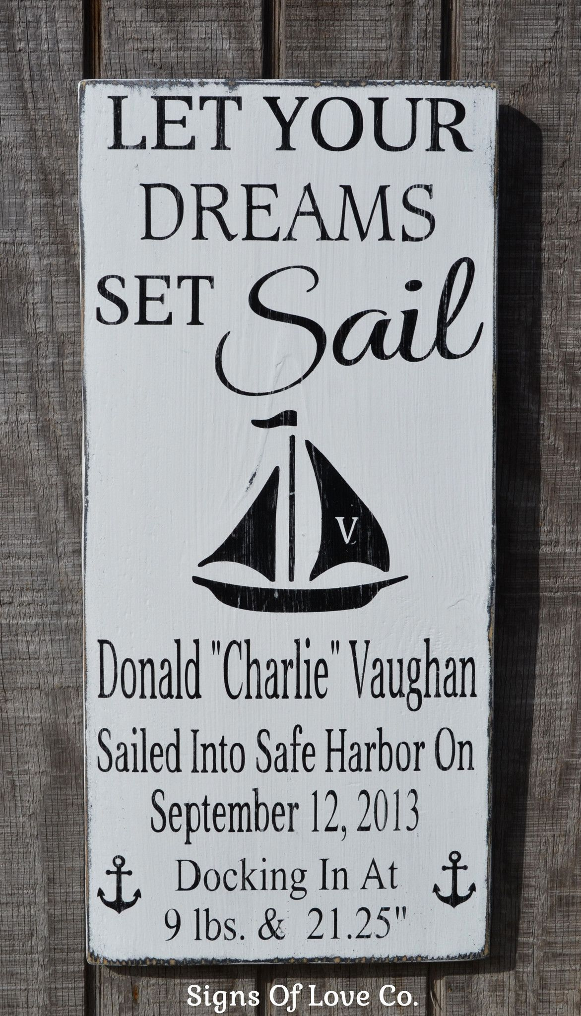 Let your dreams set sail nautical nursery birth announcement sign let your dreams set sail nautical nursery birth announcement sign personalized baby gift nautical negle Choice Image