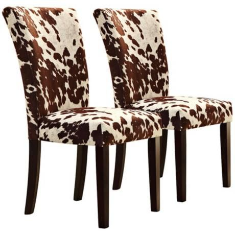Homebelle Set Of 2 Cowhide Print Side Chairs 3w165 Lamps Plus