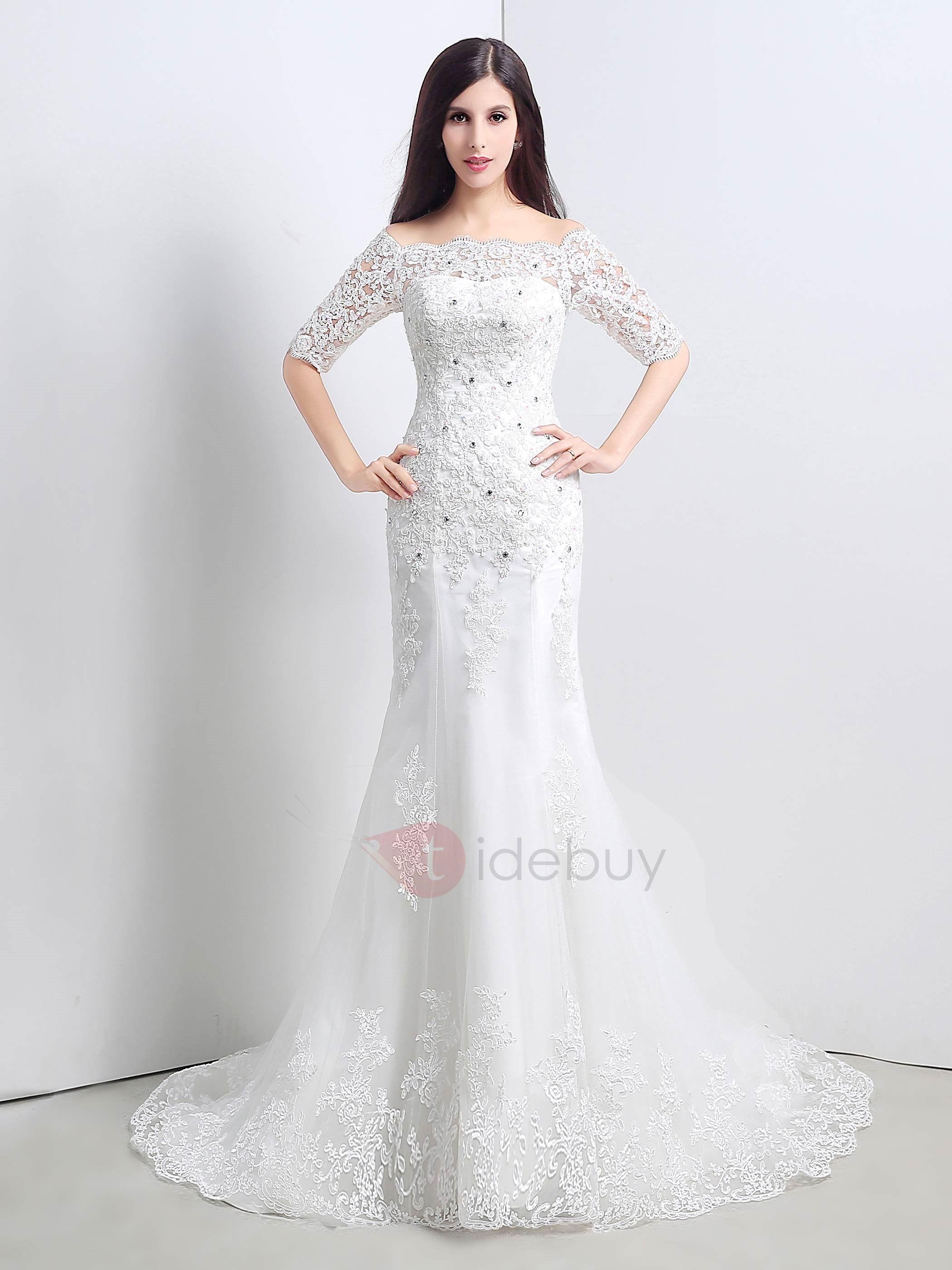 White mermaid wedding dress  Off the Shoulder Beading Appliques Mermaid Wedding Dress with Half