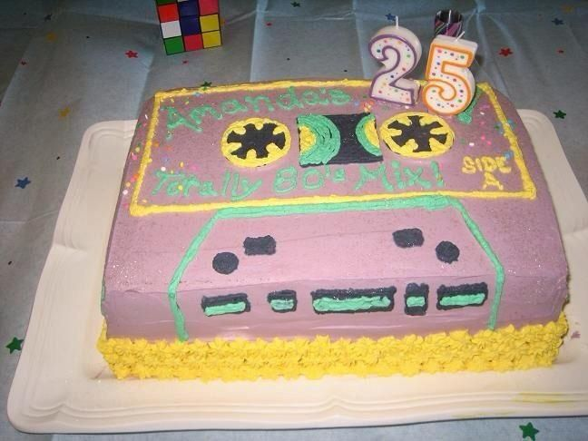 Cassette tape cake for 80's party