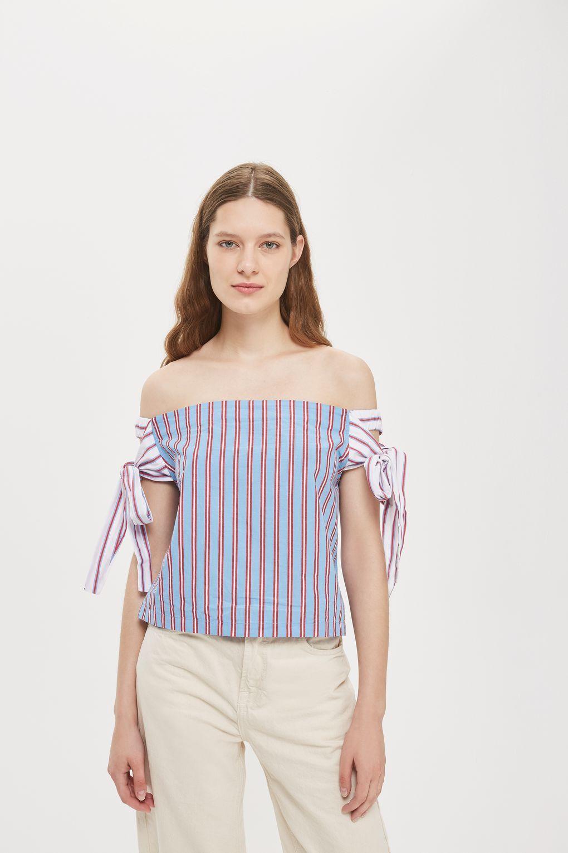 a454b29c61fbb Tie Side Stripe Bardot Top - Tops - Clothing