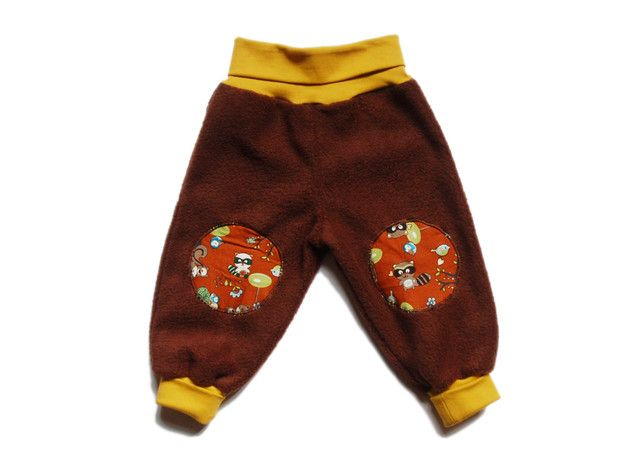 """Hosen - Kuschel-Fleece-Hose braun """"Waldtiere""""... - ein Designerstück von poniundkleid bei DaWanda"""