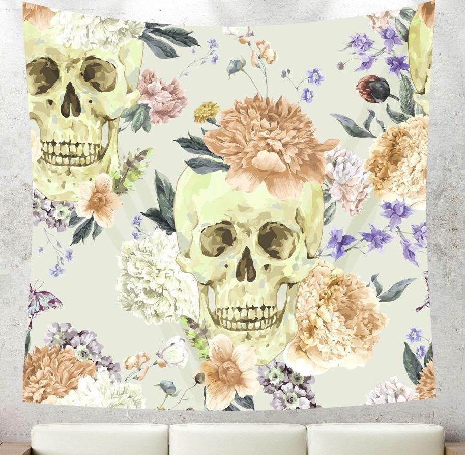 Lavender tapestry,Lavender skull,skeleton tapestry,Lavender wall ...