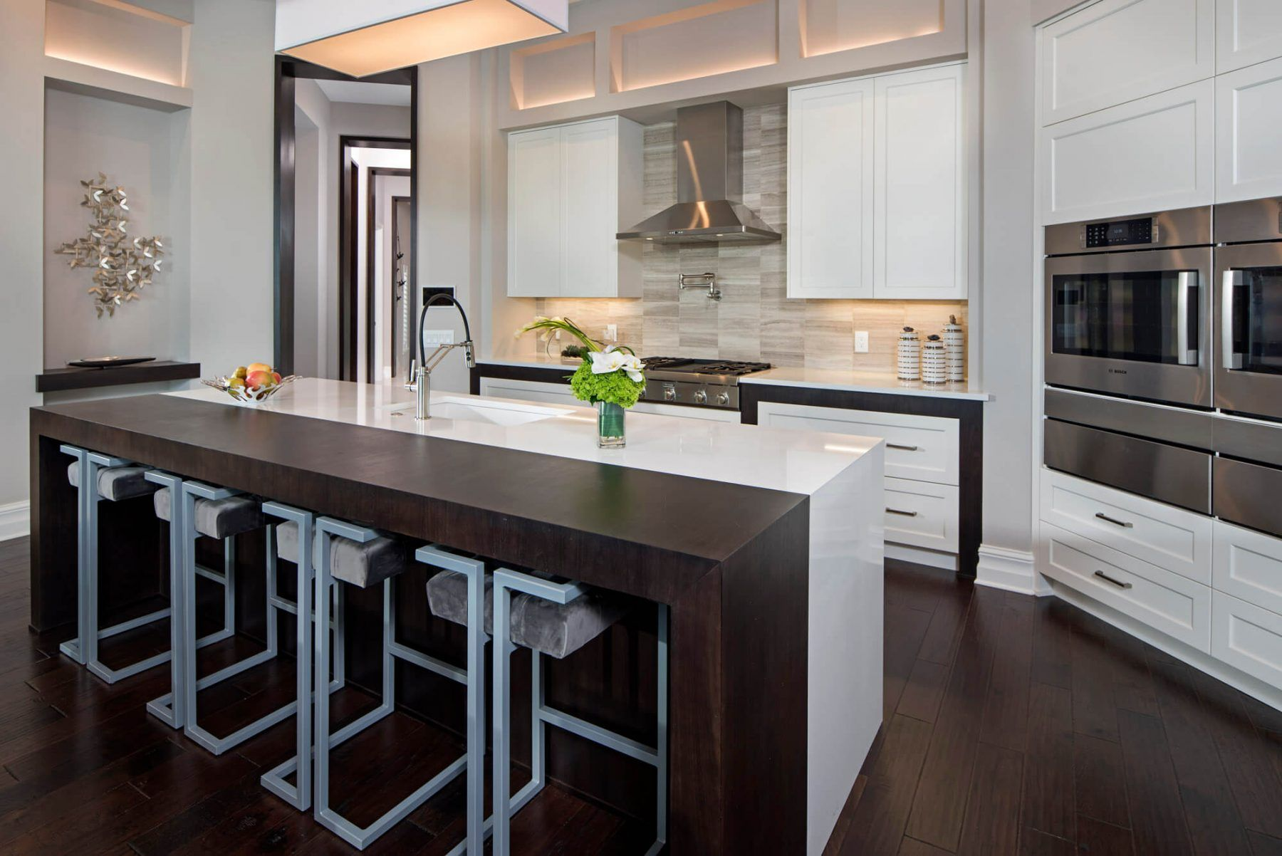 Transitional white kitchen 2018 double ovens Florida