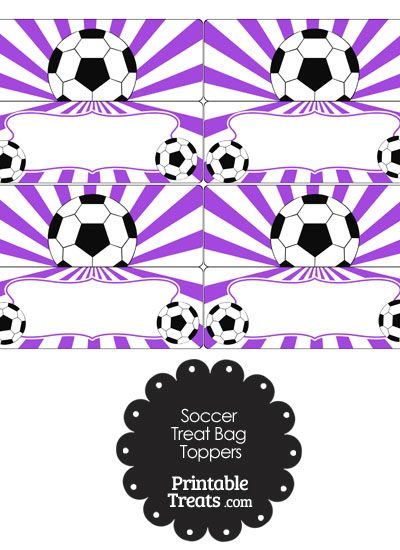 Purple Sunburst Soccer Treat Bag Toppers from PrintableTreats.com