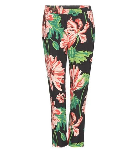 Stella McCartney Floral Printed Cropped Crêpe Trousers For Spring-Summer 2017