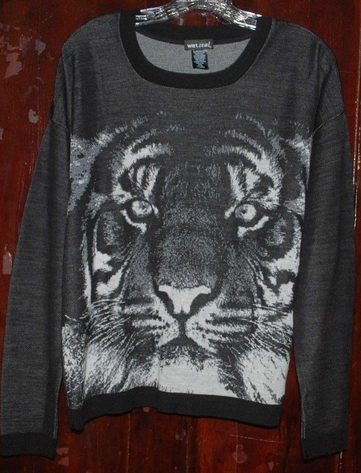 Black White Tiger Wet Seal Sweater Juniors XL Tiger Long Sleeve Animal Print BTS #WetSeal #Crewneck