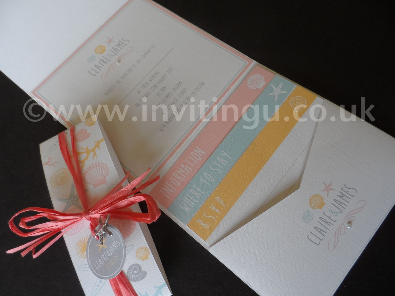 wedding stationery packages uk%0A Beach and shell themed wedding invites with Starfish charm    www invitingu co