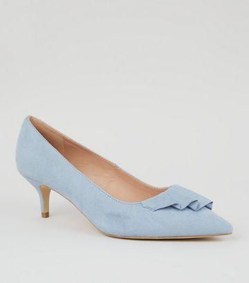 fc748b5c6a8 Wide Fit Pale Blue Pleated Trim Kitten Heels Kitten Heels