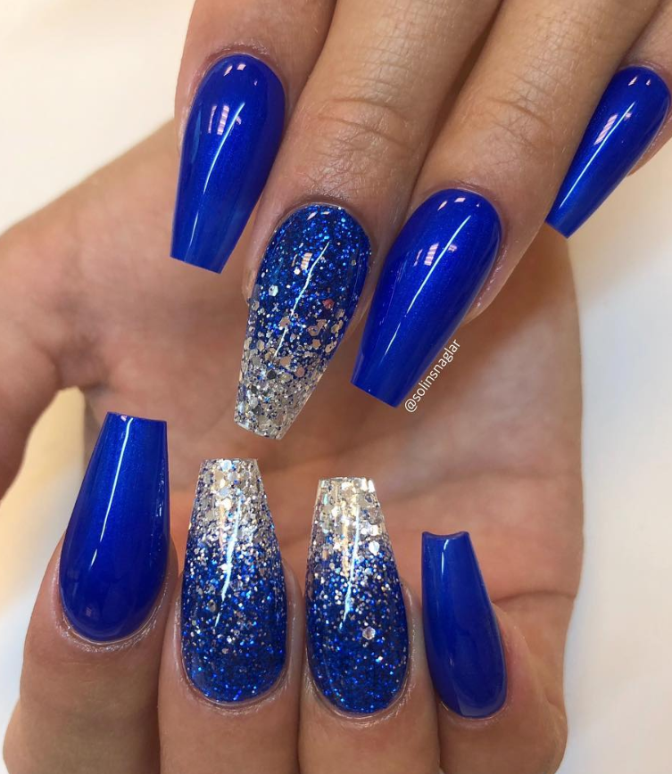 50 Fabulous Sparkly Giltter Acrylic Blue Nails Design On Coffin And Stiletto Nails To Try Now Page 47 Of 54 Latest Fashion Trends For Woman Blue Nail Designs Blue Prom Nails Blue Glitter Nails
