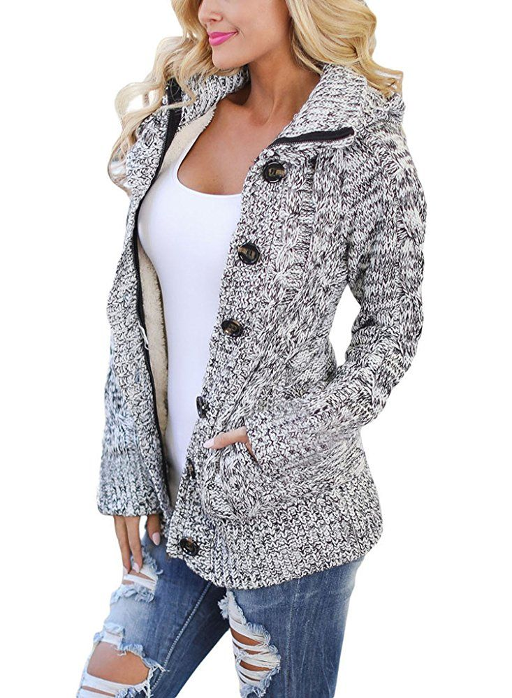 97a54d27eb Love This Sidefeel Women Hooded Knit Cardigans Button Cable Sweater Coat  Medium Grey Fashion Ideas for Winter. Warm and cozy. Great for ski trip