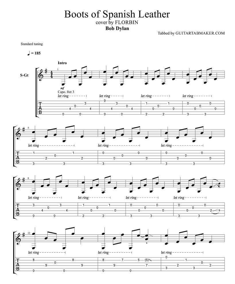 Bob Dylan Boots Of Spanish Leather Guitar Tabs Acoustic