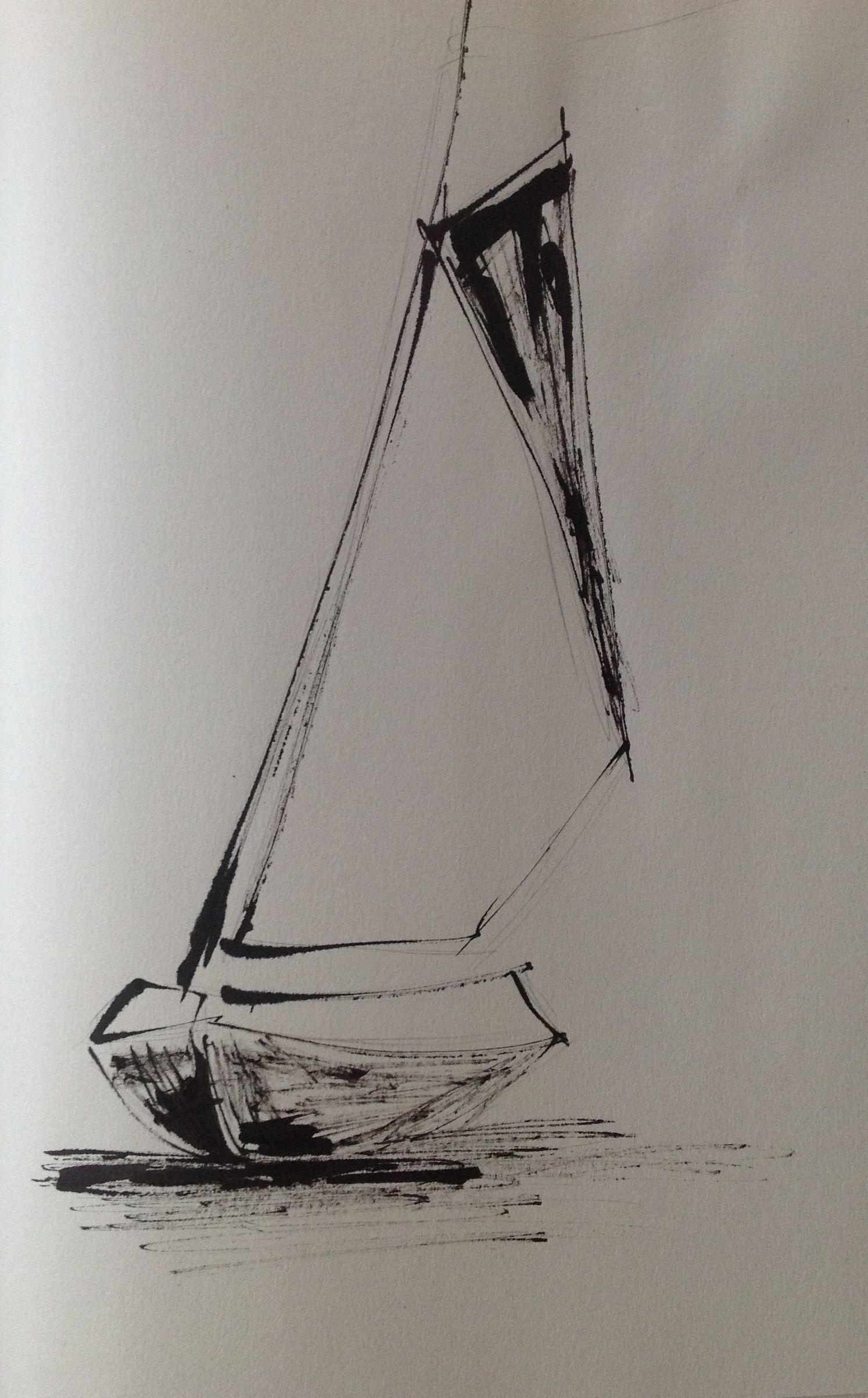 Boat Ink On Sketching Paper 2013 Corina Blom Arte De Barcos