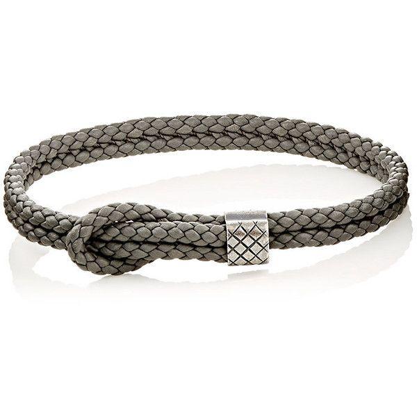Bottega Veneta Mens Sterling Silver & Intrecciato Leather Bracelet VjQGU