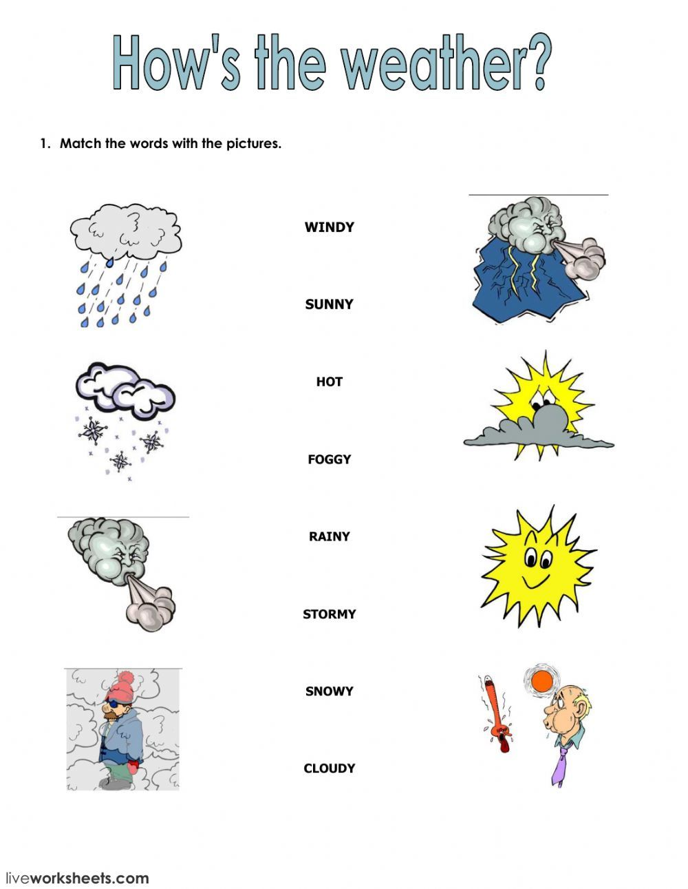 The weather interactive and downloadable worksheet. You can do the  exercises online or download th…   Weather worksheets [ 1291 x 1000 Pixel ]