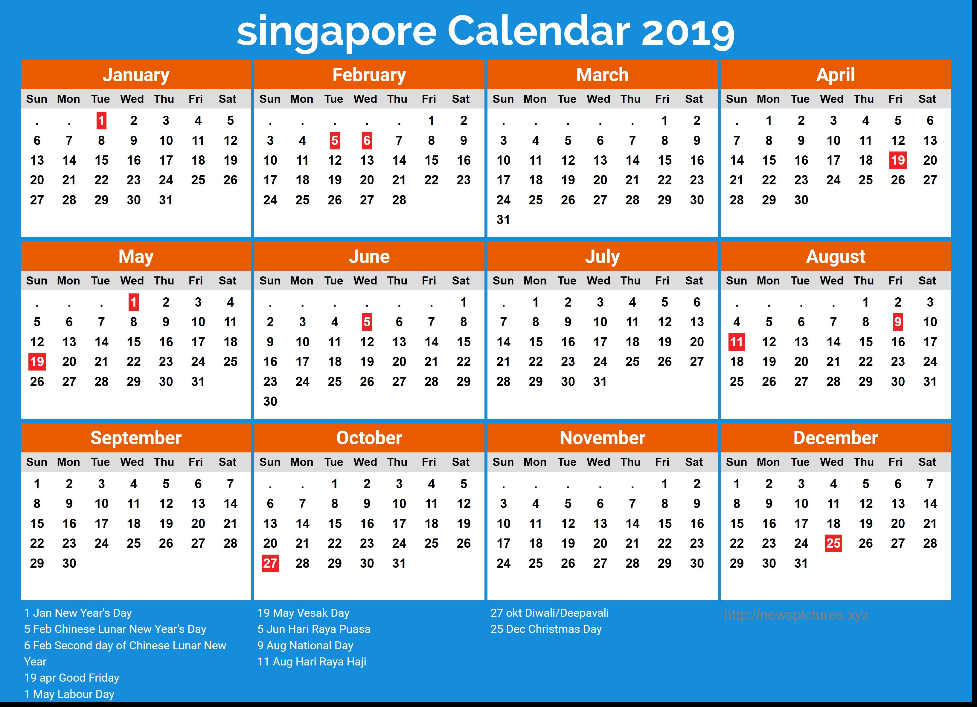 Image result for calendar 2019 singapore Calendar 2019