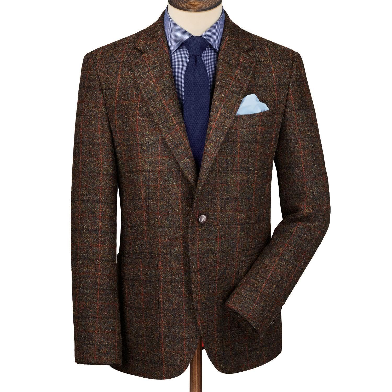 Dark green check harris tweed classic fit jacket | Men's blazers ...