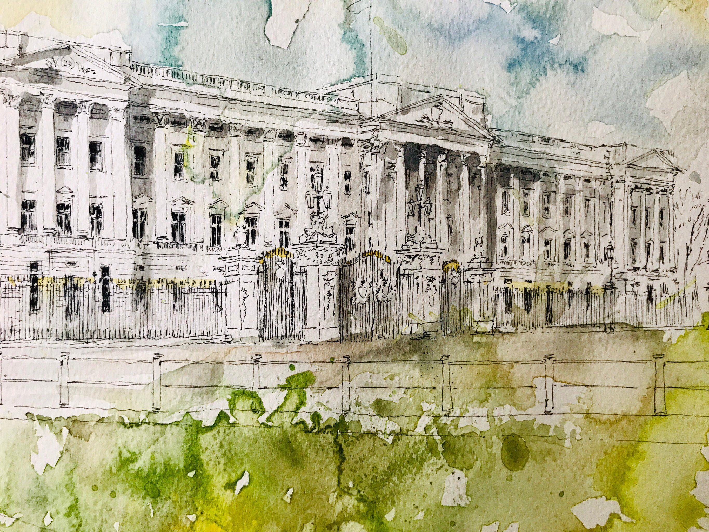 Original Watercolour Of Buckingham Palace London Etsy Original Watercolors Buckingham Palace London Buckingham Palace