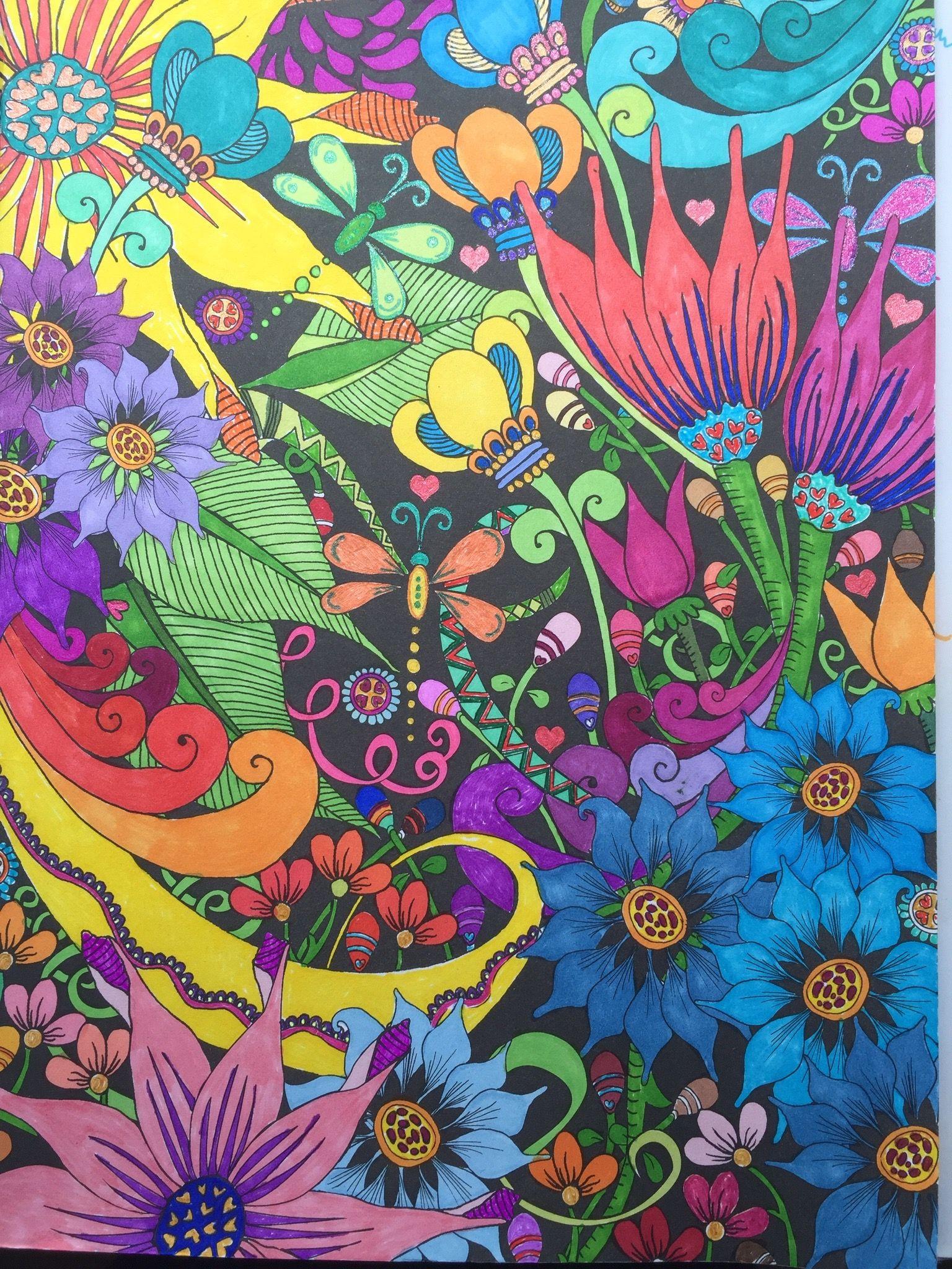 Midnight Garden Creative Haven - Dover Pub. Prismacolor markers ...