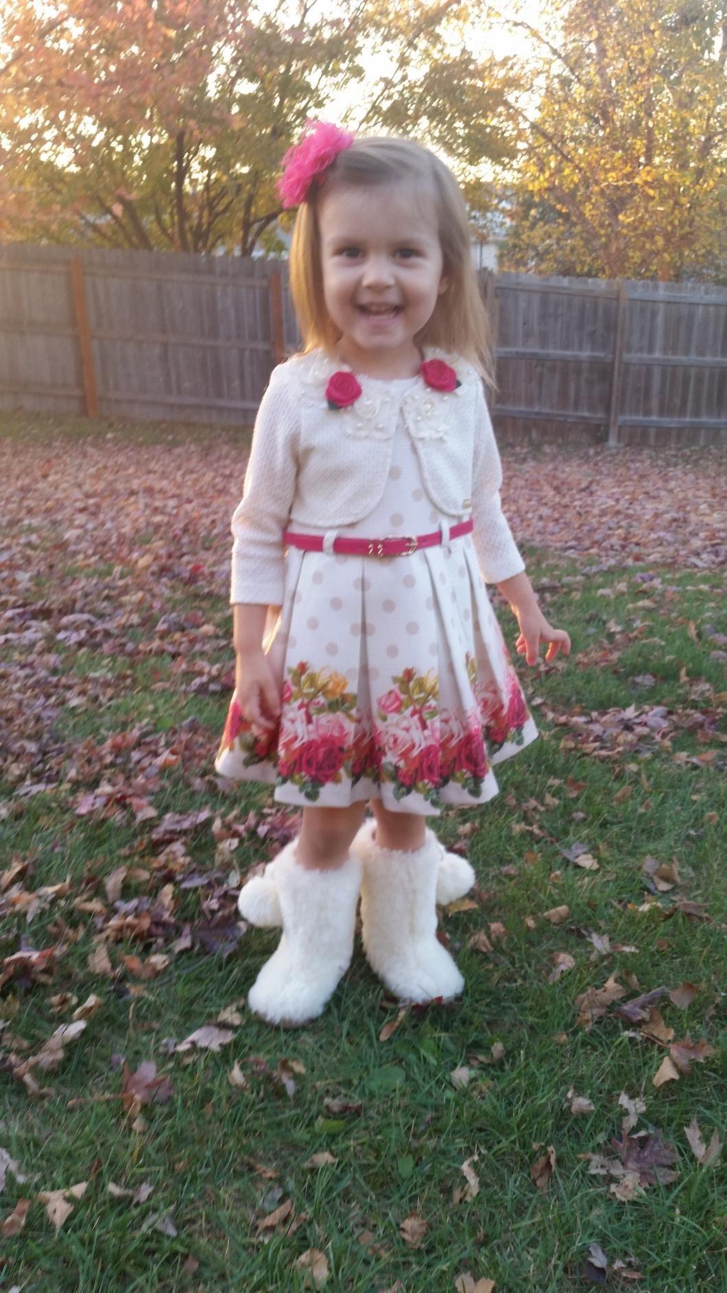 Lilax little girls pink rose printed dress