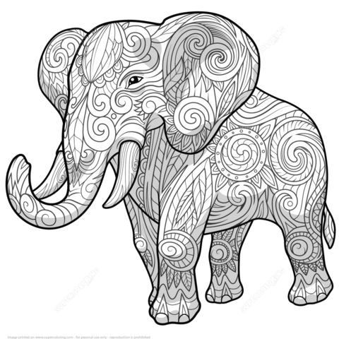 Zentangle de Elefante Étnico Dibujo para colorear … | Elefantes ...