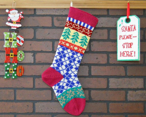 Argyle Christmas Stocking, Hand Knit Fair Isle Christmas Stocking ...