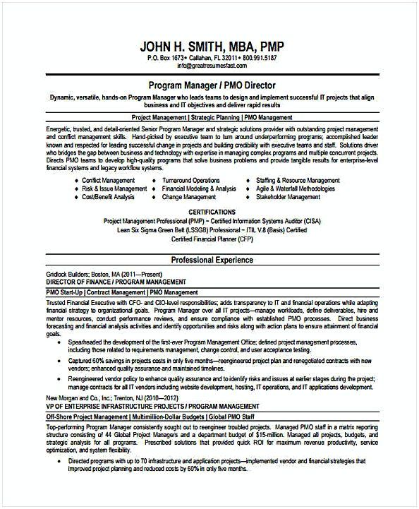 Program Manager Resume in PDF , Resume for Manager Position , Many