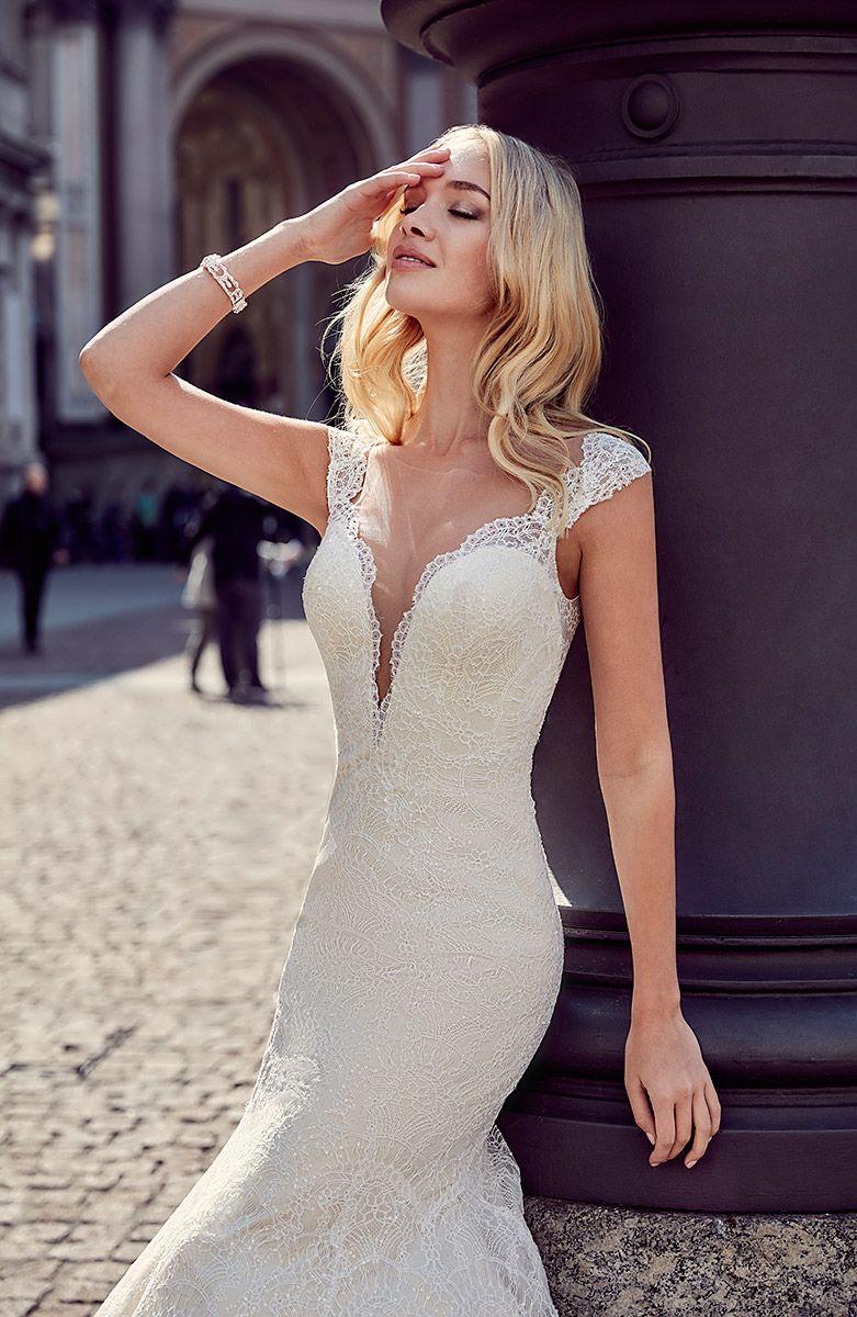 Milano wedding dress styles for body types vneck long sleeves