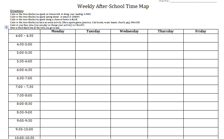 Student Log To Get Baseline Of Time Management Needs After School
