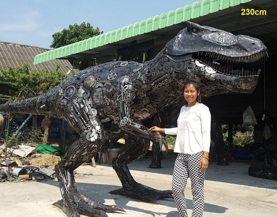 Life Size T Rex Dinosaur Statue Scrap Metal Animal Art