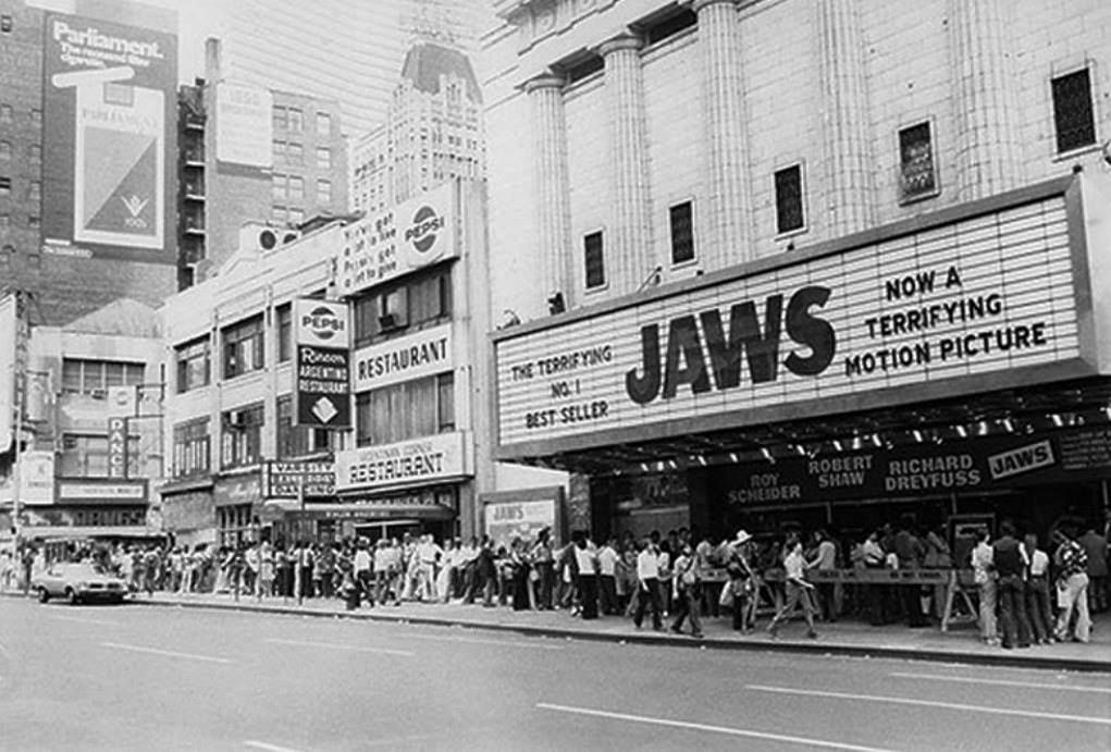 Jaws Movie Marquee. | Jaws movie, Spielberg, Movie theater