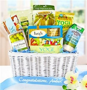 A snack basket filled with gluten free products for a new mommy a snack basket filled with gluten free products for a new mommy negle