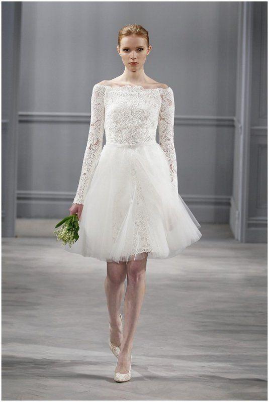 forme trapèze epaules nues manche longue dentelle a hauteur du genou courte  tulle robe mariage civil