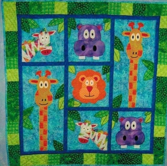 Colcha patchwork. Jungle quilt.