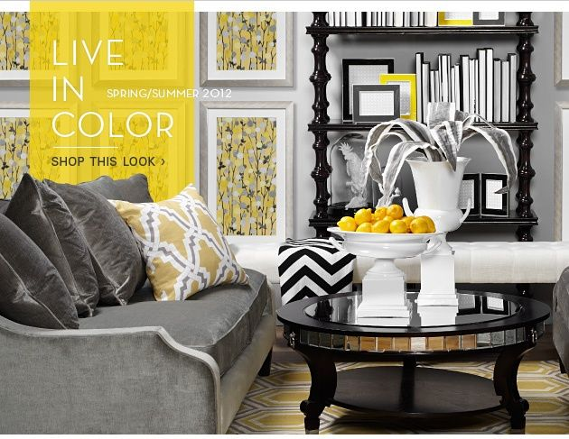 Bright and sassy grey black yellow white living room careful balance of hues patterns create  vibrant contemporary look also rh pinterest