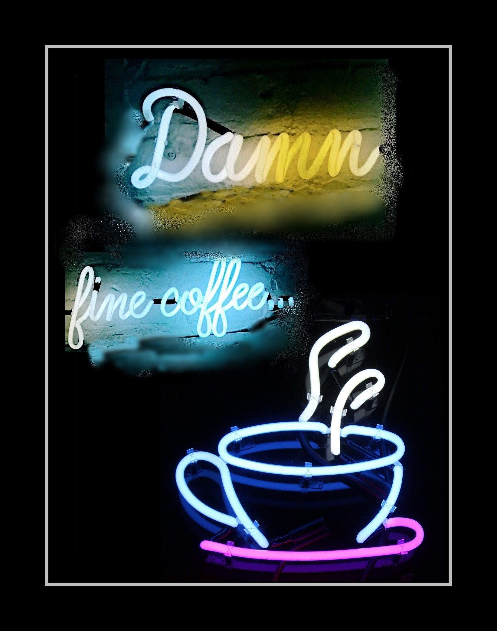 Neon sign kitchen wall art coffee cup wall decor pantry wall art