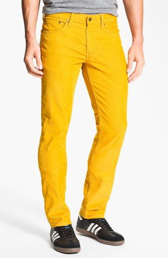 e523d165ced I'm seriously considering buying a pair of these yellow Levis 511 skinny  corduroy pants. They're only $29.99.