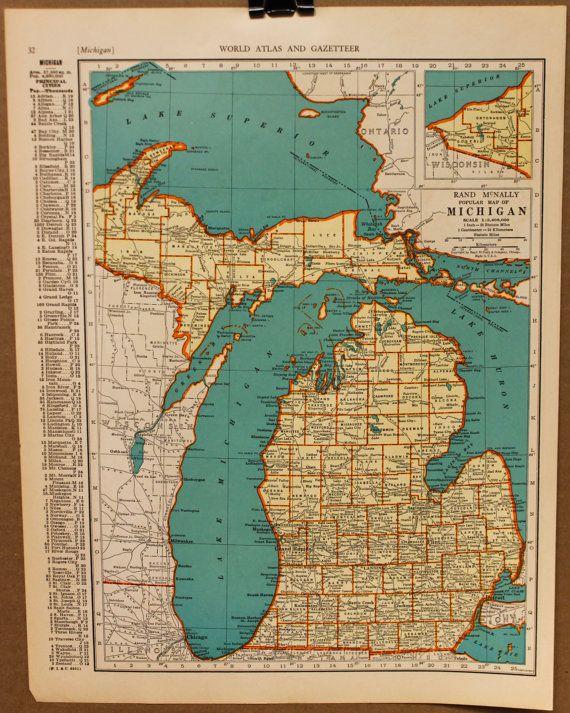 Vintage Map Michigan Detroit Original