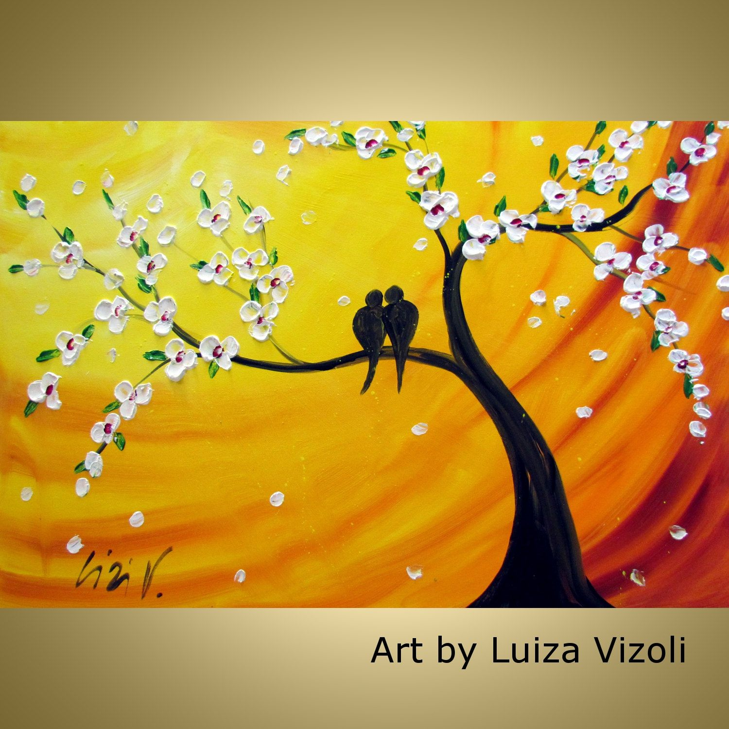 CHERRY TREE and LOVEBIRDS at Sunset Original Oil Painting on Large ...