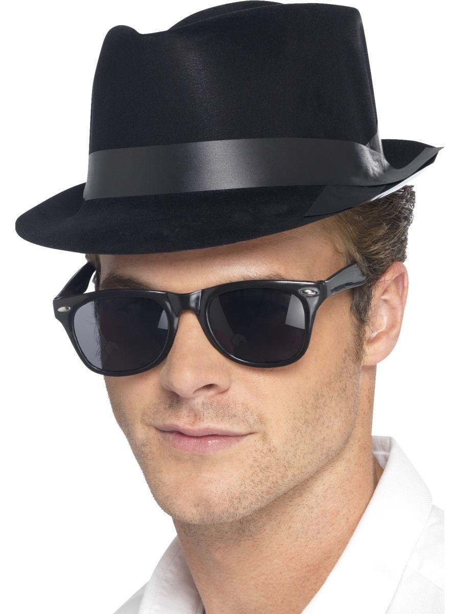291f61b93f6 Mens 50s Rocking Fedora Fancy Dress Hat Black Rocker