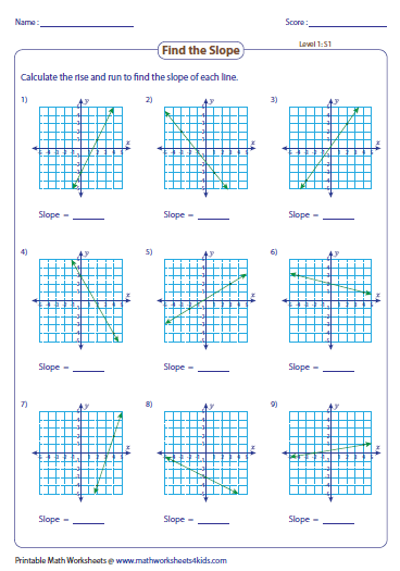 Finding Slope Count The Rise And Run Graphing Linear Equations Free Math Worksheets Free Math
