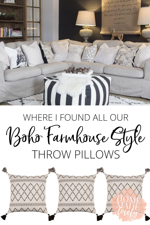 Where I Found All Our Boho Farmhouse Style Throw Pillows In 2020 Farmhouse Couch Farmhouse Sofa Throw Pillow Styling