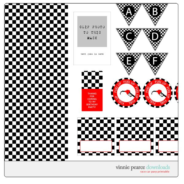 Free printable race car party For Tom Parties – Free Printable Race Car Birthday Invitations