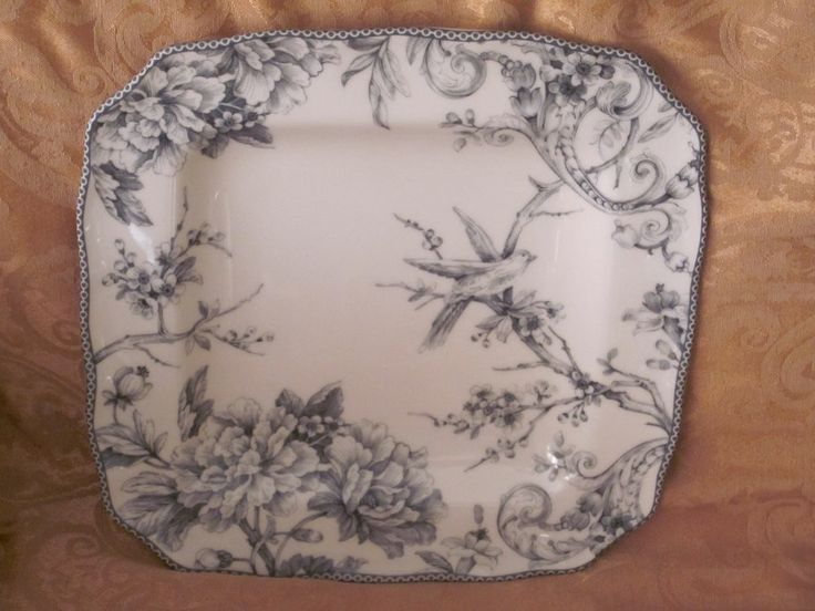 222 Fifth Adelaide Grey Toile Dinner Plates Set 8 & french dinner plates | ...