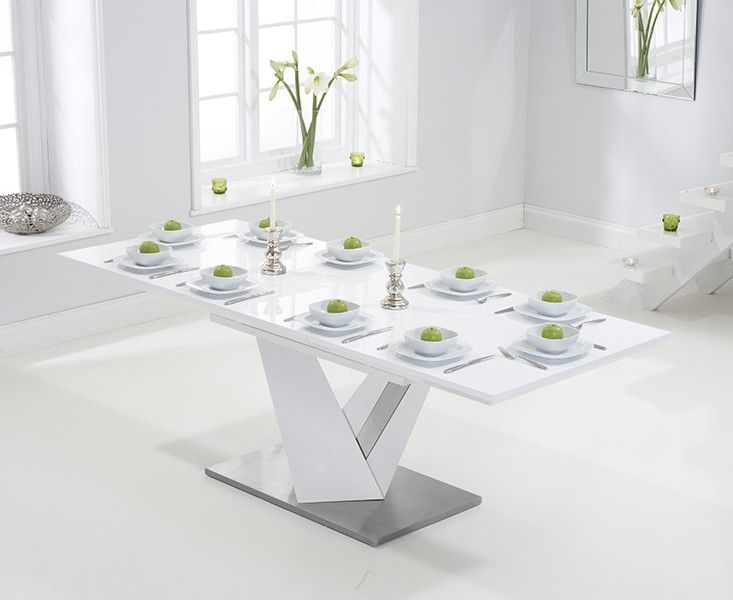 Harmony 160cm Extending White High Gloss Dining Table Salle A