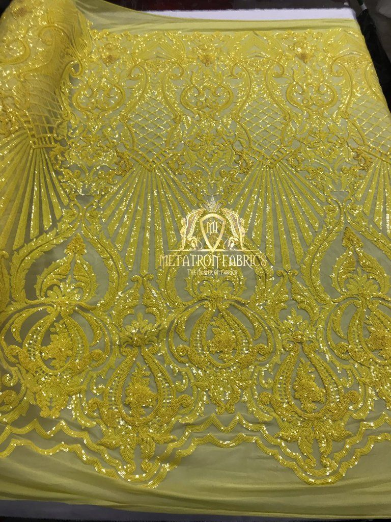 New Yellow 4 Way Stretch Sequins Fabric  Mesh-Lace-Prom-Gown By Yard