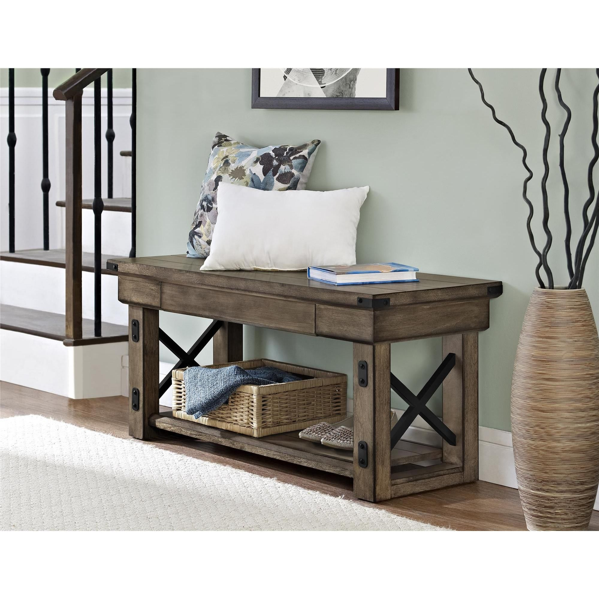 Astonishing Carbon Loft Dewhurst Rustic Veneer Entryway Bench For The Gmtry Best Dining Table And Chair Ideas Images Gmtryco