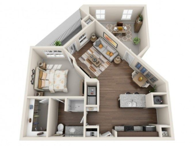 40 Stylish Studio Apartment Floor Plans Ideas #apartmentfloorplans