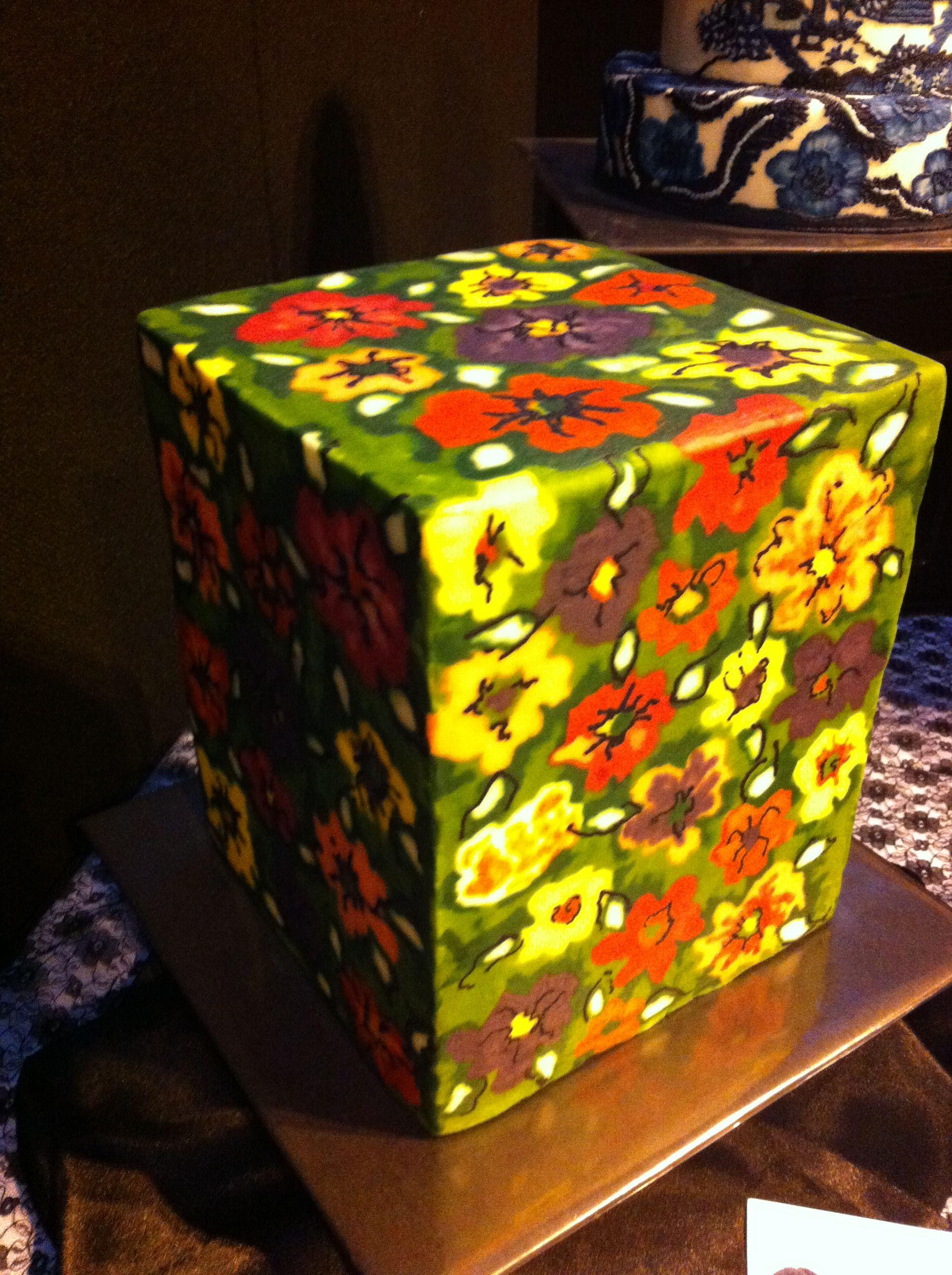 Amazing square painted cake! | Painted cakes, Cake ...