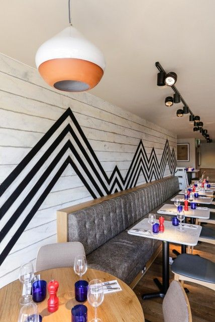 Bold Zig Zag Graphic Painted On Wood Panelling Creed Design